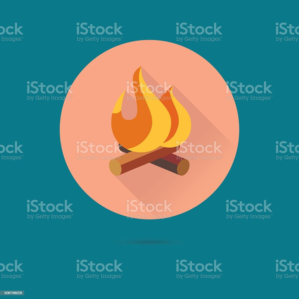 Camp Fire Flat Design Vector Icon vector art illustration