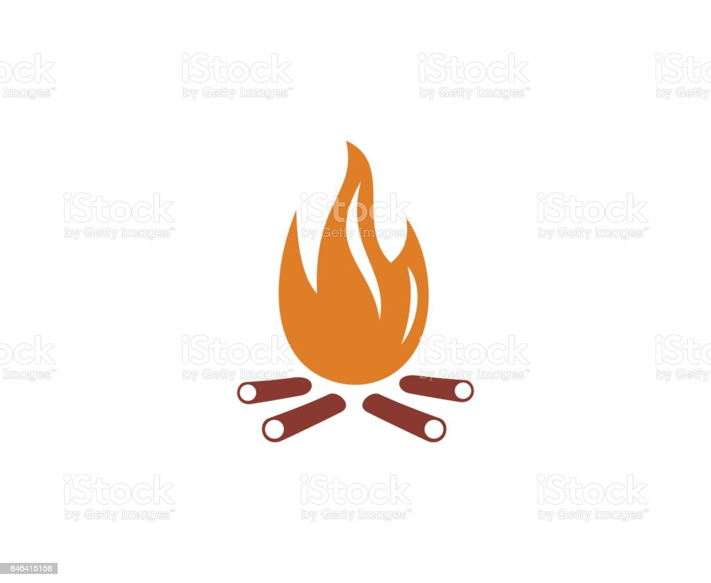 camp fire icon vector art illustration