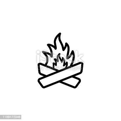 Camp Fire Line Icon In Flat Style Vector For Apps, UI, Websites. Black Icon Vector Illustration
