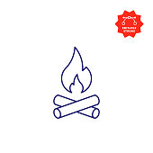 Camp Fire Icon with Editable Stroke and Pixel Perfect.
