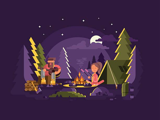 bildbanksillustrationer, clip art samt tecknat material och ikoner med camp is near a fire - skog brand
