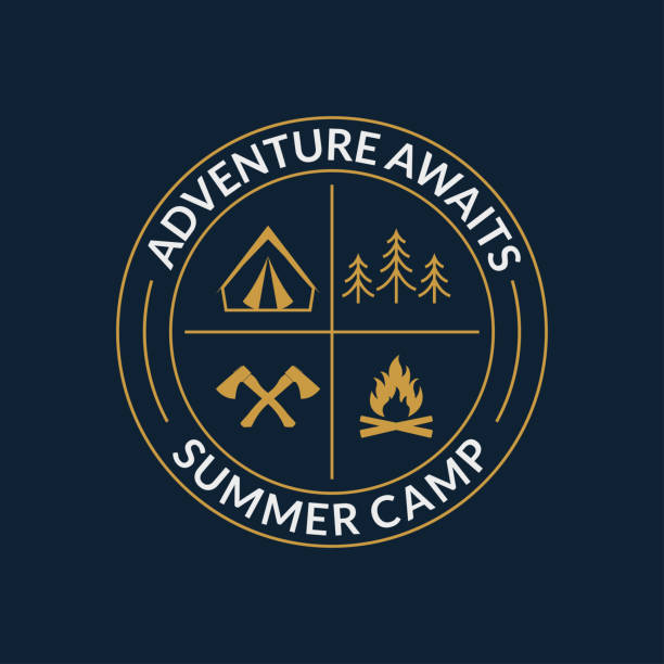 Camp logo. Round summer camping badge with adventure awaits slogan. Vector illustration. vector art illustration