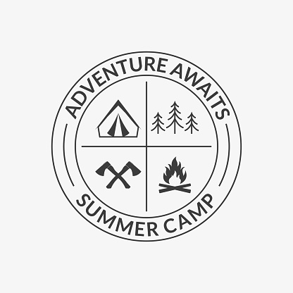 Camp Logo Round Summer Camping Badge With Adventure Awaits