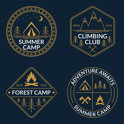 Camp logo set. Summer and forest camping badges. Mountain and Rock Climbing emblem. Vector illustration.