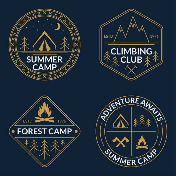 stockillustraties, clipart, cartoons en iconen met camp logo set. zomer en bos camping badges. berg en rock climbing embleem. vectorillustratie. - buitenopname