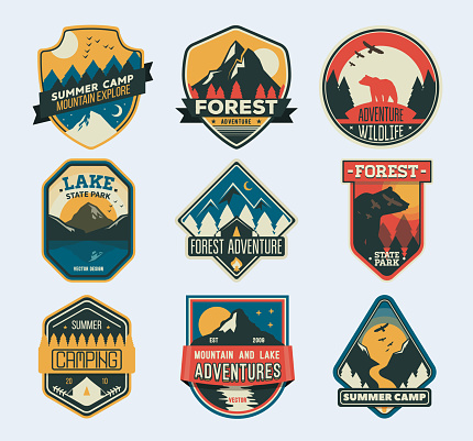 Set of isolated badges with mountain peaks and forest camp. Wild travel sticker. Landscape of rocks, national park
