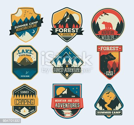Camp Patches. Badge for forest camping, exploration camp, tourism extreme sport club.
