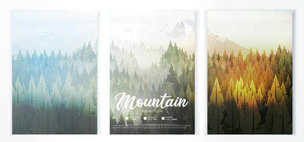 Camp poster with pine forest, and mountains Camp poster with pine forest, and mountains adventure silhouettes stock illustrations