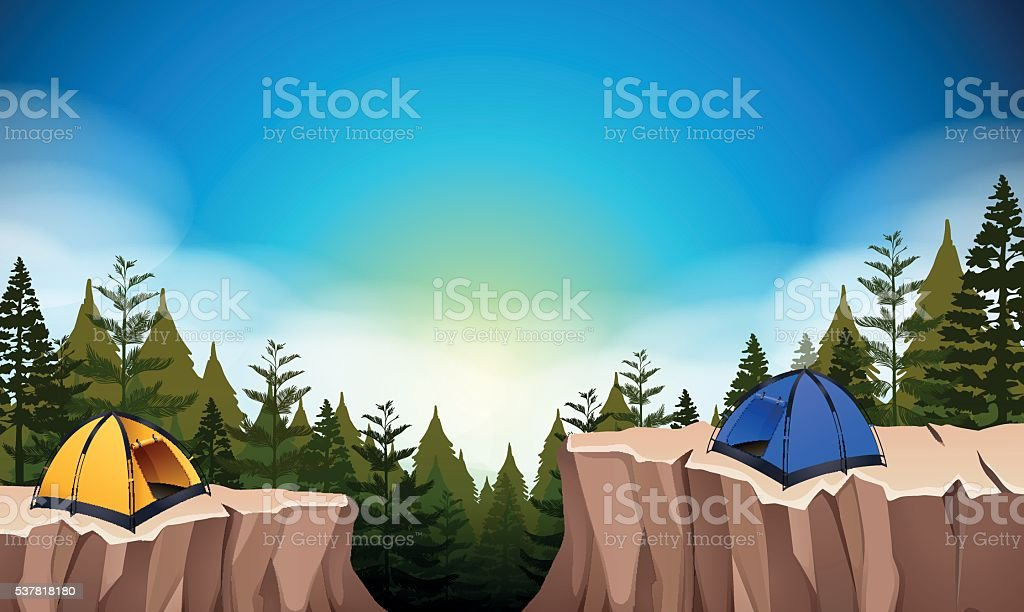 Camp site with two tents on the cliff royalty-free camp site with two tents on the cliff stock illustration - download image now
