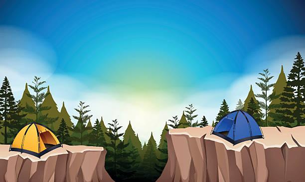 camp mit zwei zelte auf der klippe - nationalpark stock-grafiken, -clipart, -cartoons und -symbole