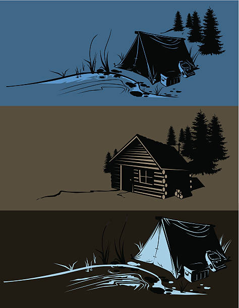 camp sites - log cabin stock illustrations, clip art, cartoons, & icons