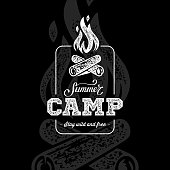 Summer camp sign with a fire. Vector illustration.