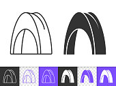 Camp tent summer awning black line vector icon