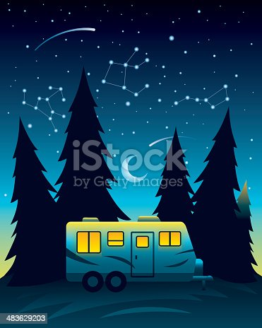 istock Camp Trailer at Night 483629203