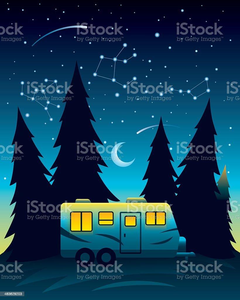 Camp Trailer at Night vector art illustration