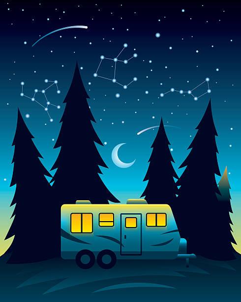 camp trailer bei nacht - campinganhänger stock-grafiken, -clipart, -cartoons und -symbole