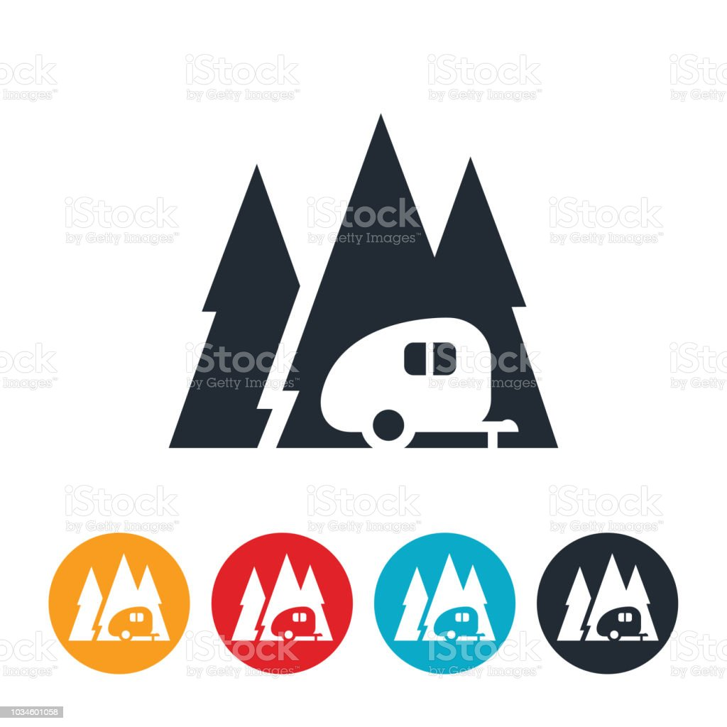 Camp Trailer In Pine Trees Icon vector art illustration