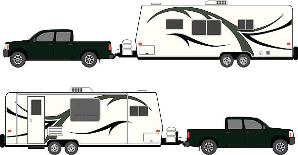 camp anhänger mit abholung über nacht. - campinganhänger stock-grafiken, -clipart, -cartoons und -symbole