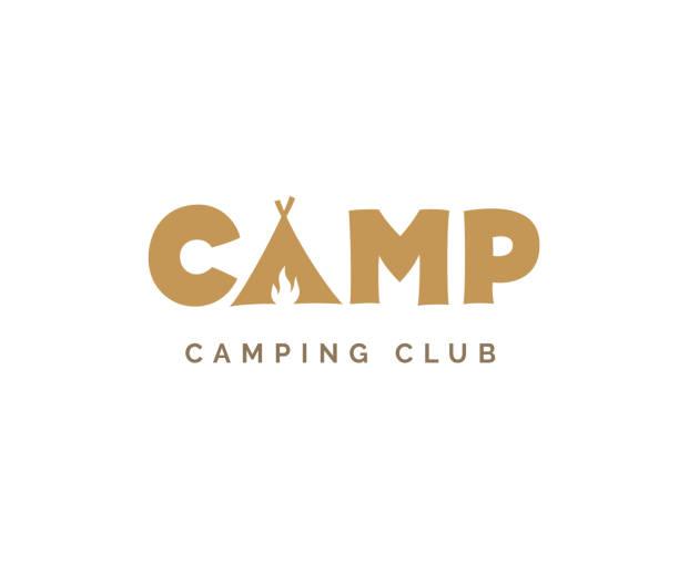 ilustrações de stock, clip art, desenhos animados e ícones de camp vector sign - camping