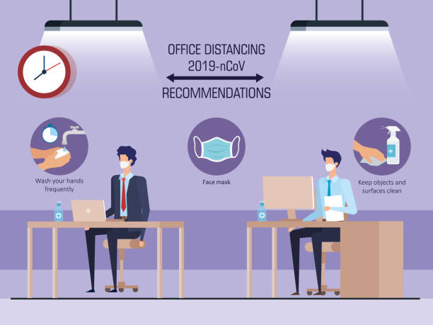 campaign of social distancing at office for covid 19 with business men vector art illustration