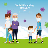 campaign of social distancing for 2019 ncov with families using face mask in landscape vector illustration design