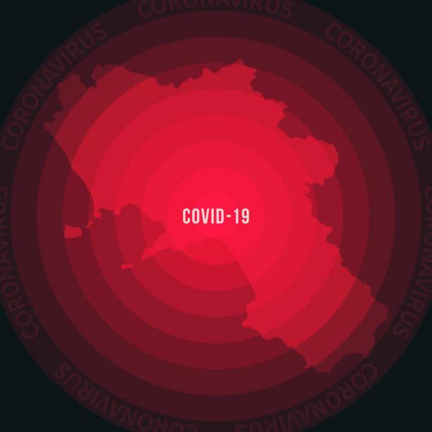 Campania map with the spread of COVID-19. Coronavirus outbreak vector art illustration