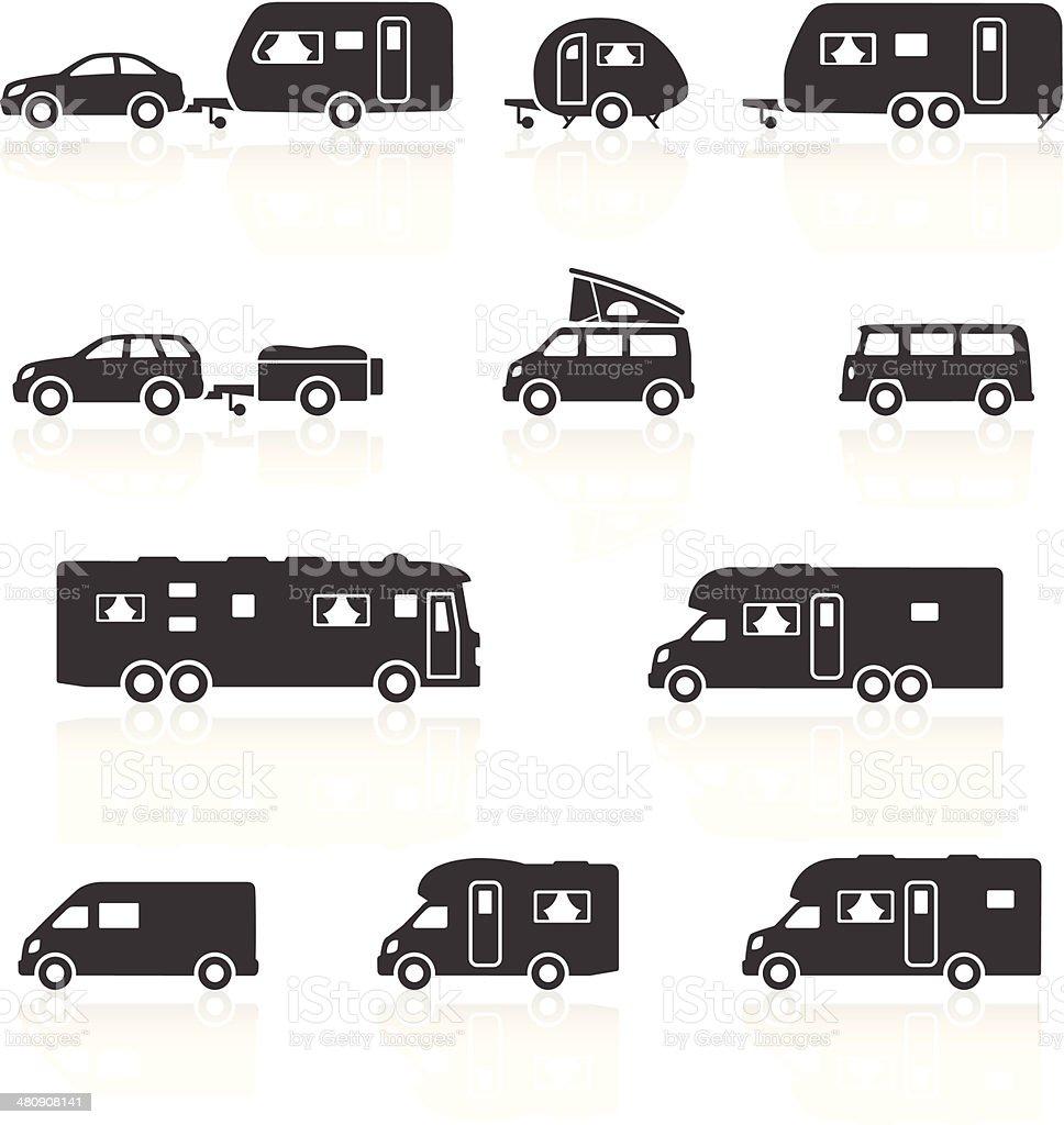 Camper Wohnmobile Wohnwagen Aufzuschlagen Motorhome Symbole Stock ...