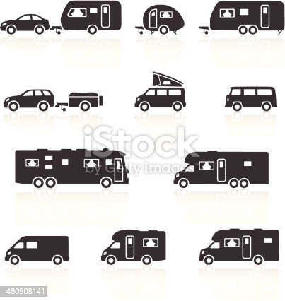 Camper, Caravan, RV & Motorhome Icons. Layered & grouped for ease of use. Download includes EPS 8, EPS 10 and high resolution JPEG & PNG files.