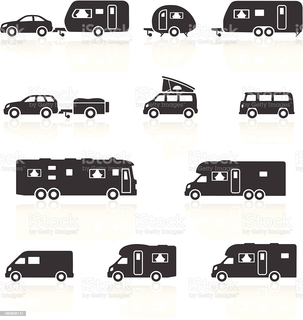 Camper, Caravan, RV & Motorhome Icons vector art illustration
