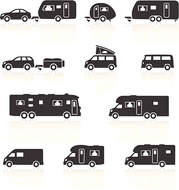 Camper Caravan RV Motorhome Icons Vector Art Illustration