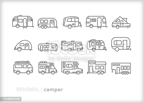 Set of 15 camper, RV and trailer line icon set for travel and vacation