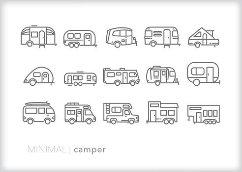 Camper line icon set