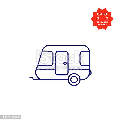 istock Camper Line Icon with Editable Stroke and Pixel Perfect. 1195873437