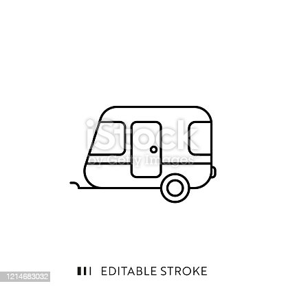 istock Camper Line Icon with Editable Stroke and Pixel Perfect. 1214683032