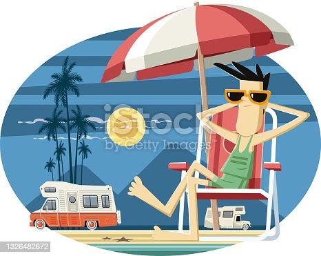 Camper on the beach