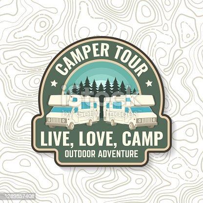 Camper tour. Live, love, camp. Camping quote. Vector illustration. Concept for shirt or emblem, print, stamp or tee. Vintage typography design with 3d camper van, wind rose silhouette.