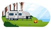 istock Camper trailer. Caravan camper trailer 1257450608