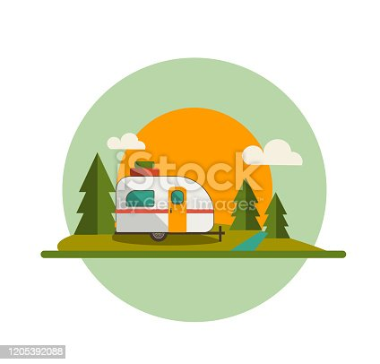 Camper Trailer Forest and Sun