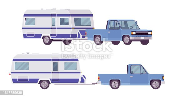 istock Camper trailer light blue car, covered wagon, family camping trip 1317789639