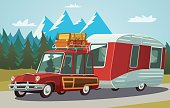 Camper trailer on mountain road