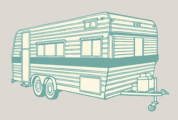 camper anhänger - campinganhänger stock-grafiken, -clipart, -cartoons und -symbole