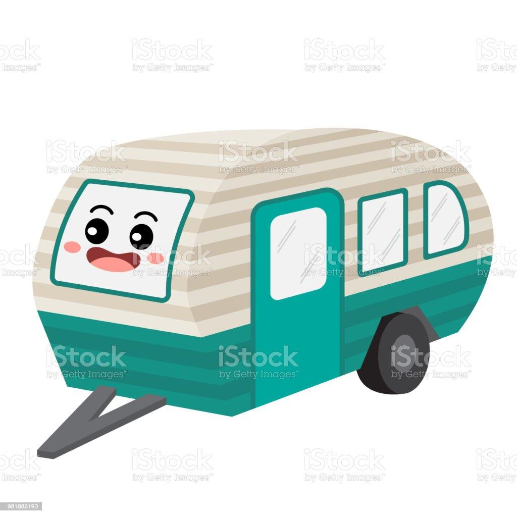 Wohnmobil Transport Cartoon Charakter Perspektive Ansicht  Vektorillustration Stock Vektor Art und mehr Bilder von Anhänger