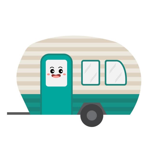 stockillustraties, clipart, cartoons en iconen met camper vervoer cartoon karakter kant weergave vectorillustratie - caravan