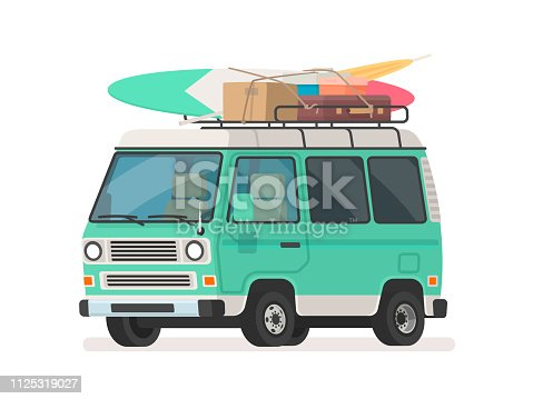 Camper trip van . Tourist minivan with luggage. Car for summer road travel. Vector illustration in cartoon style