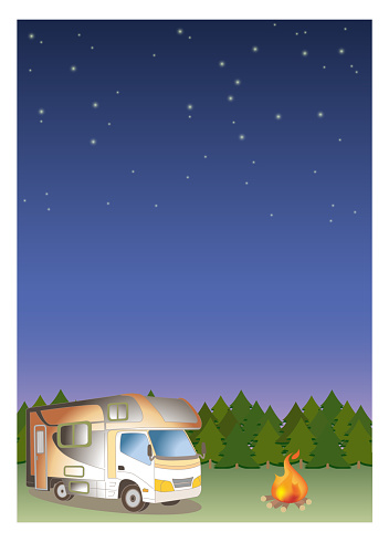 Camper van and firewood - Night Forest background image