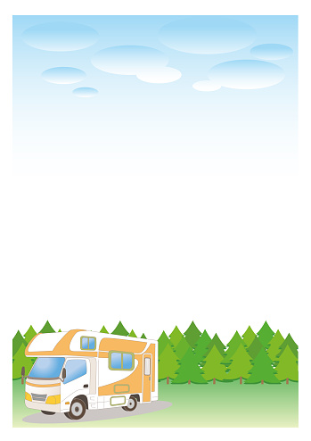 Camper van and nature background - Forest vertical type