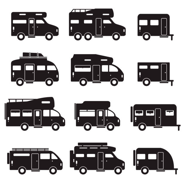 Camper van icon set. Recreational vehicle RV set. Vector. Camper van icon set. Recreational vehicle RV set. Vector. eps10. rv interior stock illustrations