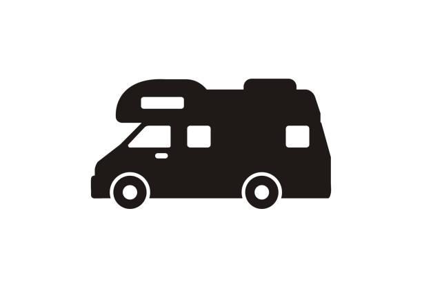 Camper van. Simple flat illustration in black and white simple flat illustration of a campervan in black and white. rv interior illustrations stock illustrations
