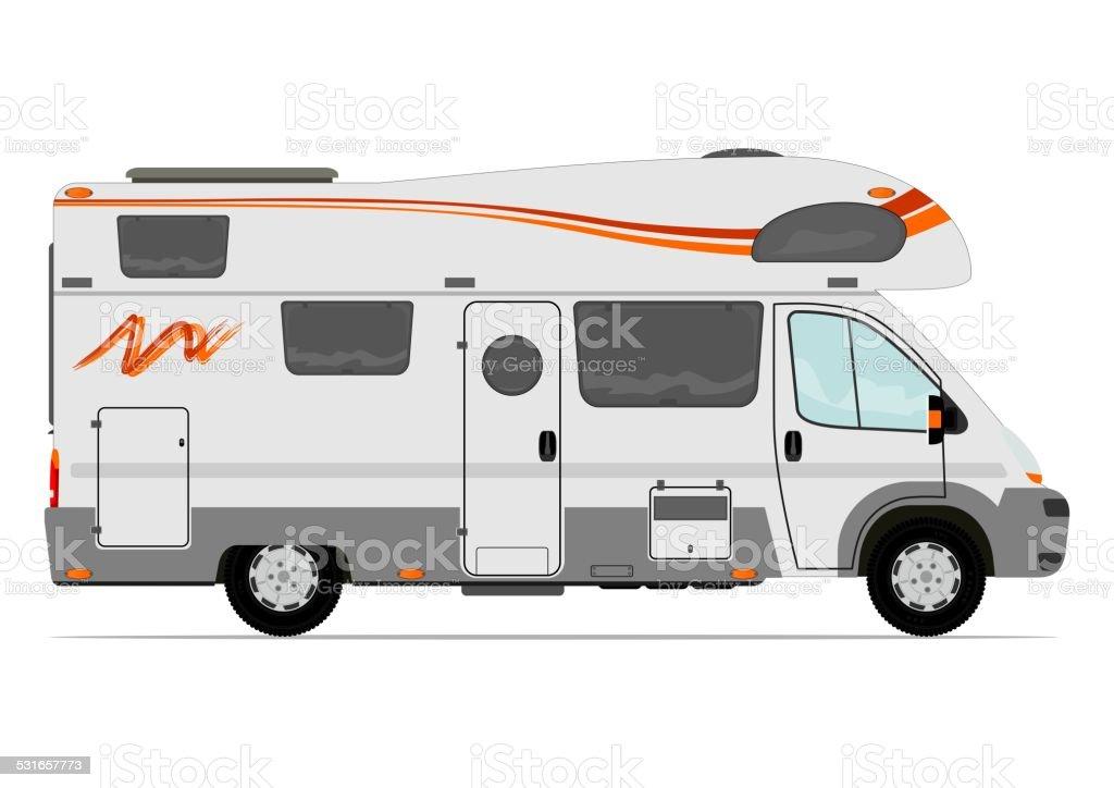 Camper van vector art illustration