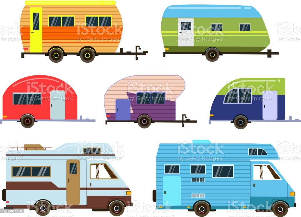 Campers cars set. Different resort trailers. Vector pictures in flat style vector art illustration